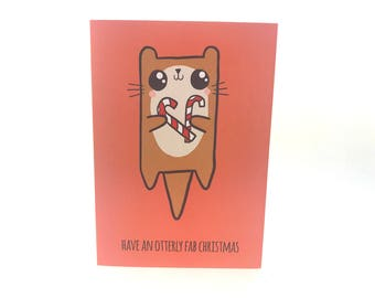 Cute Xmas Card, Funny Pun Card, Merry Christmas, otter card, christmas card, rude christmas card, funny christmas card, otter print