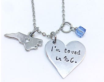 I'm Loved In NC Necklace, nc state necklace, Graduation Gift, Foreign Exchange Student Gift, Moving Away Gift, Long Distance state Necklace