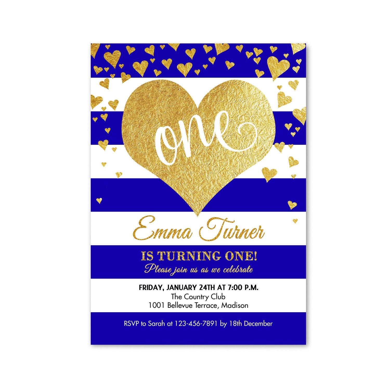 First Birthday Invitation / 1st Birthday / One / Heart / Navy Blue ...