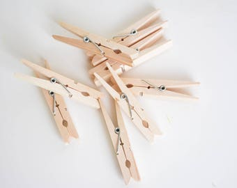 20 large wooden pegs, clothes pegs set, photo holder, rustic wedding decor birthday party favors clips, clothespins, DIY garland, wall decor