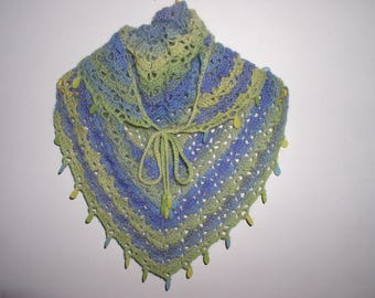 small shawl, scarf, neck wool crochet with beads