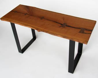 Live Edge Cherry Bench, Steel Legs, Made in Michigan