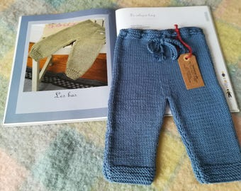 Baby pants 6 months blue merino wool