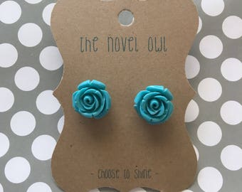 Turquoise flower earrings - teen jewelry - flower earrings - casual jewelry - floral