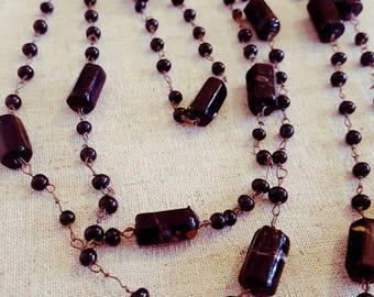 Art Deco Black Necklace - Flapper Necklace - Black Bead Necklace -  Bead Wire Link  Necklace - Long Black Necklace - Vintage Jewelry