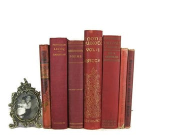 SALE SALE SALE Red Vintage Books , Red Book Bundle , Book Decor , Red Decorative Books , Wedding Prop , Photo Prop , Vintage Books , Old Boo