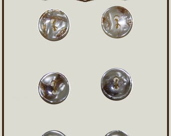 Set of 6 buttons of white marbled plastic 11 mm