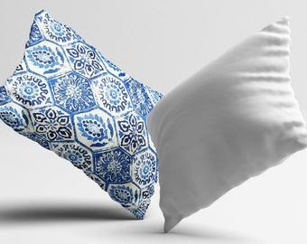 Morocco PillowCase Blue Throw Pillow Cover Luxury Pillow Toss Silk Pillow Case Cushion Portuguese Satin PillowCase Home Decor Mom Gift Idea