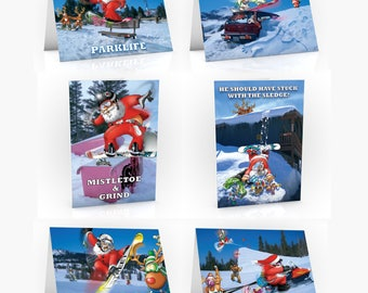 6 PACK of Snowboard Christmas Cards - A5 Size - Funny Christmas cards
