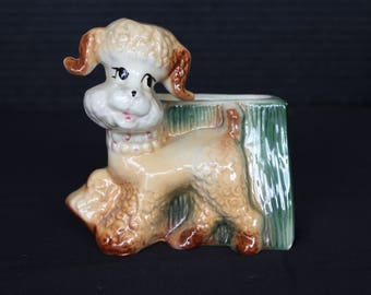 Vintage Poodle Planter made by Ceramic Fashions by Ohio Pottery CO, Circa 1950s, Apricot Poodle (P108)