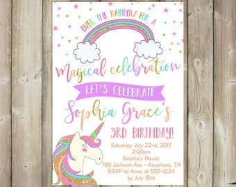 Girl Birthday Invitation - Unicorn Bday Invite - Magical Celebration - Rainbow - DIGITAL FILE
