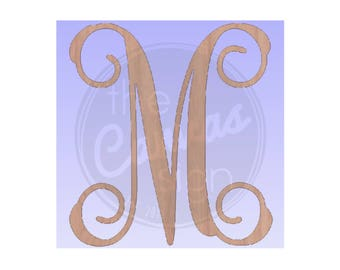 MONOGRAM initial - Letter - DIY - Unfinished Wood Cutout - Wreath Accent, Door Hanger, Ready to Paint & Personalize