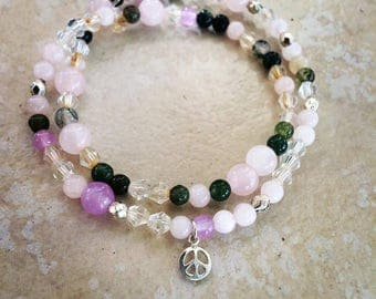 Moss Agate, Rose Quartz bracelet with Silver Peace Sign Charm