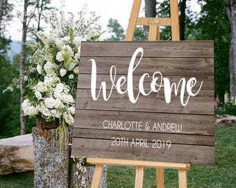 Wedding Welcome Sign, Wooden Wedding Sign, Printable Wedding Sign, Wooden Welcome Sign
