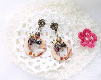 """reflections of Ambers"" earring swarovski crystal, rhinestone and enamel vintage piece"