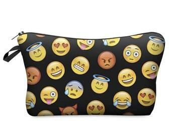 New cosmetic bag pencil case makeup purse organizer travel coin  purse toiletry bag 3d print,  zipper pouch, emoji,