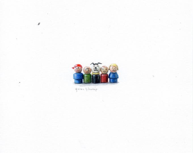 "Print of miniature painting of Fisher Price Little People. 1 1/4"" x 1 1/4"" print of original Toy painting on 5"" square german etching paper"