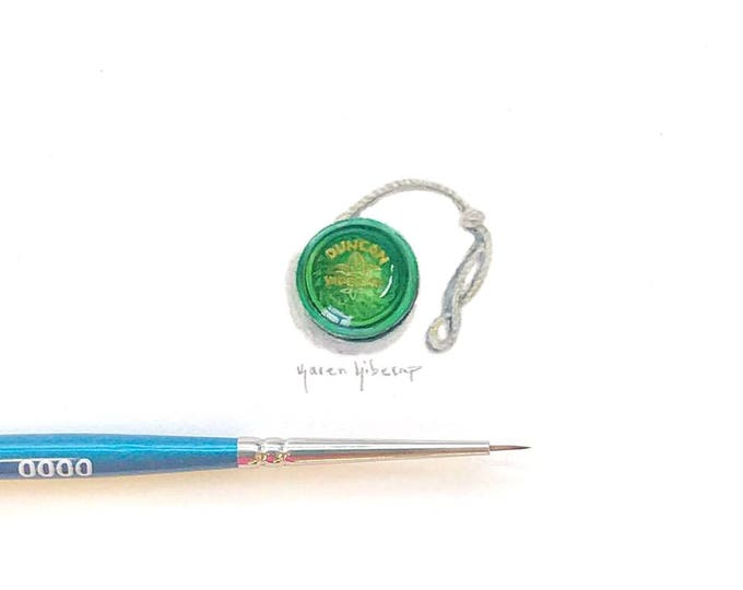 Print of miniature watercolor painting of vintage yoyo.  giclee print of Duncan yoyo watercolor painting