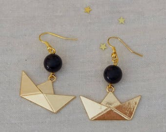 BO - Little Golden boat - Origami and Pearl blue night
