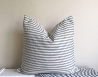 Gray & Cream Stripe Linen Pillow Cover 18x18