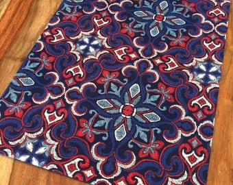 Blue and red moroccan Tile Table Runner