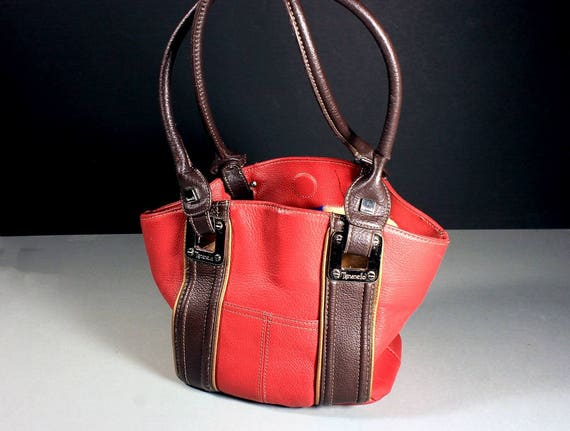 Leather Red Tote Bag, Tignanello Handbag, Shoulder Bag, Large Bag, Phone Pocket, Carry All