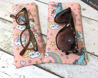 Unicorn Glasses Case, 2 sizes, Rainbow Sunglasses Pouch, Soft Specs Bag, Beach Bag Accessories, Gift for Her, Padded Reading Glasses Holder