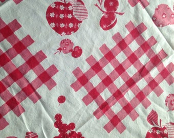 Vintage Fruit U0026 Red And White Gingham Tablecloth