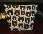 Bears! Bears! Zippered Knitting Project Bag