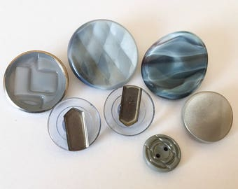 Gray and blue vintage glass button lot-7pc