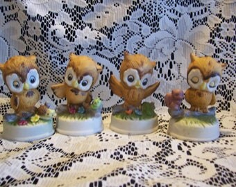 Assorted Four Owl Figurines