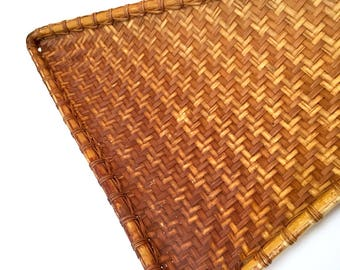 Large Flat Basket Triangle Rattan Wicker Extra Large Unique Triangular Woven Wall Tobacco Basket Brown Boho Textural Decor Collect
