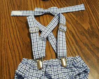 Newborn baby boy set, diaper cover set, Suspenders and bow tie set, photo prop, baby hat
