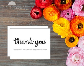 Thank You for Being Part of Our Special Day - Set of 12 Cards