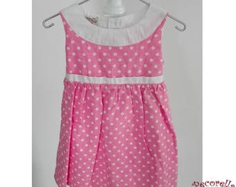 Baby girl summer dress in pink polka dots