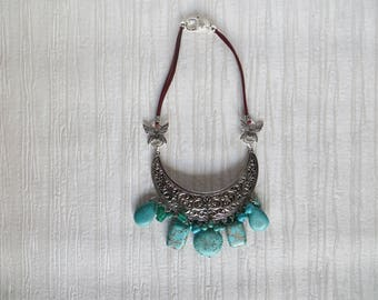 Bib silver plated NECKLACE adorned with many holowitte turquoise stones