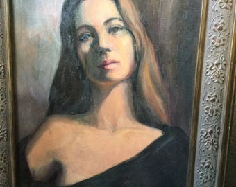 Vintage oil portrait of sad/ wistful young woman