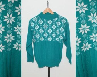 Vtg Cozy Snowflake Ski Nordic style Sweater | Cozy American Pride Made in USA Vintage Ski Sweater