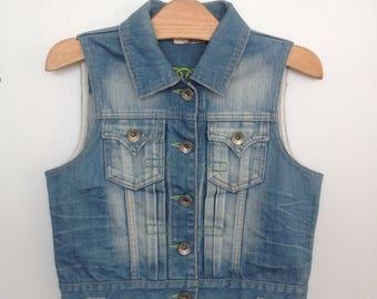 Jean Jacket Sleeveless shirt denim womens clothing 70S jeans color blue brush wash