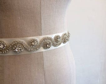 Wedding belt, Bridal Belt on Silk Ribbon Sash. Crystal Appliqué in Swirls.
