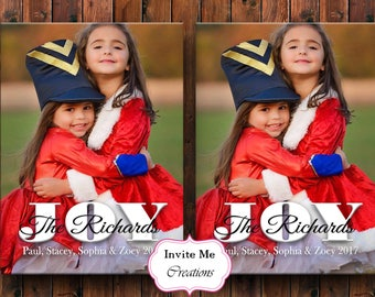 Holiday Photo Card, Holiday Greeting Cards, Christmas Card, Christmas Photo Card, Joy, Seasons Greetings Card, Printable Photo Card,