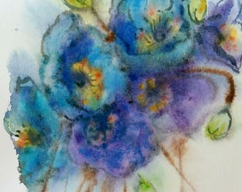"Original watercolor painting, blue poppy, 10""x8"", 1707195"
