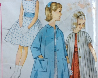 Simplicity 3804 vintage 1960's girls dress & coat sewing pattern size 14  Uncut  Factory folds