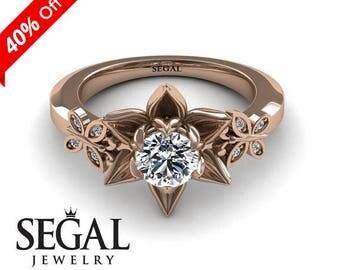 Floral Engagement Ring 14k Rose Gold Rose Statement Ring Flower Engagement Ring Moissanite Ring Unique Ring Floral Engagement Ring - Kaitlyn