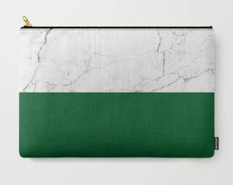 White Marble Clutch Emerald Green Makeup Bag Colorblock White Marble Pouch Trendy Travel kit Marbled Print Girls gift green travel bag set