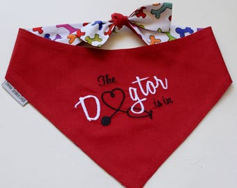 The Dogtor Is In Red Bandana || Therapy Dog Reversible Bones Tie Pet Scarf || Puppy Gift by Three Spoiled Dogs