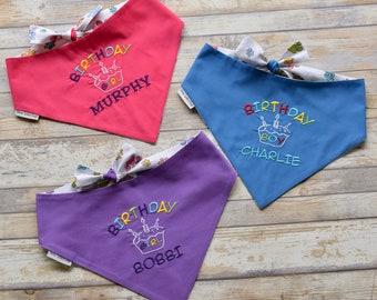 Custom Birthday Dog Bandana || Happy Birthday Pet Scarf || Embroidered Black Classic Tie || Puppy Gift by Three Spoiled Dogs