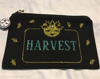 Sparkly Harvest Moon Zippered Pouch, Sparkly Moon, Moon Babe, Tarot Bag, Makeup Case, Pencil Case, Tarot Case, Handmade, Case