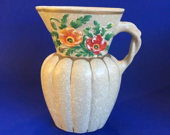 "7 1/2"" Shabby Chic Brentley Ware Art Deco English Pottery Pitcher Jug Juice Water"