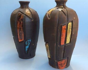 1 of 2 Mid Century Vintage Italian Florentine Art Pottery Incised Vases Italy